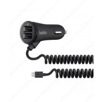 Belkin 2 Port 20W Adapter Mobil / Car Charger + Kabel USB Micro Samsung / Xiaomi / Android - Hitam