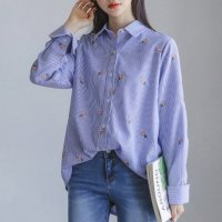 (Korean Item c030) Flower Embroidery Wrinkle Free Short Sleeve Shirt (Fashionable Women39;s Fashion)