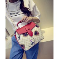 Tas Hobo Hand Bag Casual Modis Trendy Retro Wanita Import Putih Merah