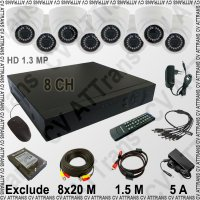 Paket CCTV HD 1.3 MP: 8 Channel, 8 Kamera (8 Indoor) [PA01]