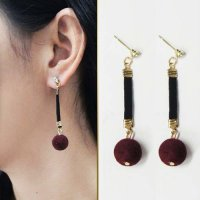 Fur PomPom Long Sweet Earrings - Red