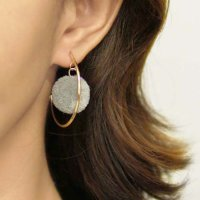 Anting Korea PomPom half circle exaggerated earrings