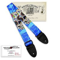 [worldbuyer] Walker & Williams TS-11 Blue Guitar Strap With Sugar Skulls/386121