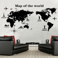 Sticker Wallpaper Dinding World Map Peta Dunia Bahan Plastik PVC