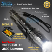 Paket Hemat Senter + Battery + Charger - Taffware LED Cree XM-L2 T6