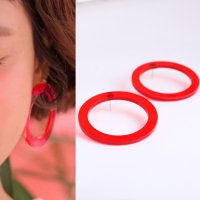 Anting Korea Circle Round Disc Plate Acrylic earrings