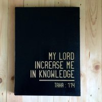 Hiasan Dinding Dekorasi Rumah Poster Kayu Islami - Increase Your Knowledge - 30x40 cm