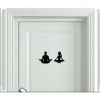 Wall Stiker Yoga Sign Pintu Kamar Mandi Toilet Cutting Sticker Dekoras