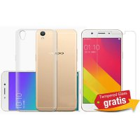 OPPO R9 Tempered Glass Casing Handphone Soft Case Transparan Bening