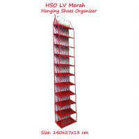 HSOZ LV Merah (Rak Sepatu Gantung Retsleting) Hanging Shoes Organizer Zipper Motif Branded