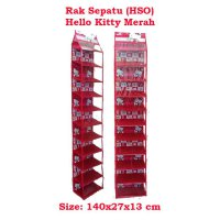 HSOZ Hello Kitty Merah (Rak Sepatu Gantung Retsleting) Hanging Shoes Organizer