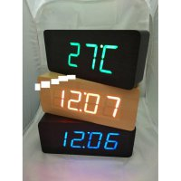 Jam Meja Digital Led Weker LED Digital Wood Alarm Clock