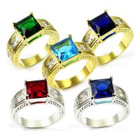 Cincin Import Ruby, Emerald, Aquamarine, Sapphire 10KT Yellow White Gold Plated Ring M1