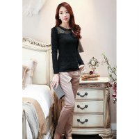 [DJ] New stand-up collar long-sleeved big yards plus thick velvet lace bottoming shirt