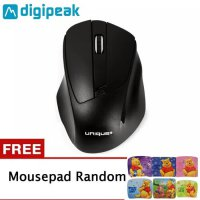 Unique Mouse G216 Wireless Gaming Mouse Laptop 1600 DPI FREE MOUSEPAD - Hitam