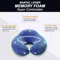 Bantal Leher U Shape Memory Foam Traveling Pillow