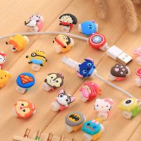 [globalbuy] 2pcs 3D cartoon mini protector for iPhones Lightning Charge Cable fashion deco/4043833