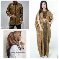 SB Collection Couple Stelan Atika Dress Maxi Kaftan Jumbo Hijab Segi Empat Dan Kemeja Batik Pria