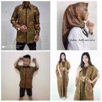 SB Collection Couple Family Afifah Dress Maxi Kaftan Jumbo Hijab Segi Empat Dan Kemeja Batik Anak Ayah