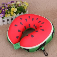 Bantal Leher Travel U Shape Mobil Model Watermelon