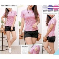 Promo [Tee stripes FT] blouse wanita spandek motif stripe var color