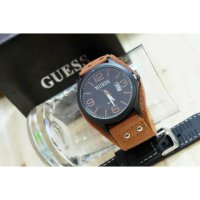 Jam Tangan Pria / Cowok Guess Set Leather Medium Brown