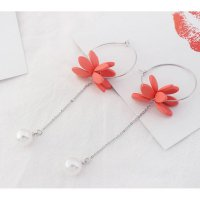 anting panjang fashion korea dangling earring flower tassel jan123