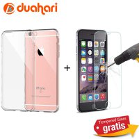 IPHONE 6 Tempered Glass + Cover Casing Handphone Iphone 6 Softcase Transparan