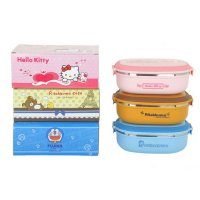 Monolayer Rantang STAINLESS LUNCH BOX HELLO KITTY DORAEMON RILAKUMA ( Kotak Makan )