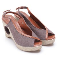 Dr.Kevin Wedges Sandal Canvas 2685 Brown