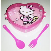 Lunch Box Hati hello kitty + Spoon Fork