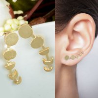 [ANTING] 02F47Ar-Br Moon Early Fifteen Ear Clip Earrings Moon Phases Climbers