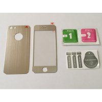 (Gold Product) Iphone 5 / 5s / SE Silver Titanium Alloy Premium Tempered Glass