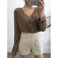 Linen T-shirt Cardigan Free Shipping Hihg Quality korean Fashion [S029]