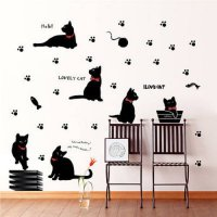 [globalbuy] Lovely Cats With Red Bowknot Wall Sticker Decal Vinyl Mural Art Kids Home Deco/3291278