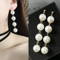 ANTING 02CC5Dr Four Exaggerated Large Pearl Tassel Long Earrings Gold-White