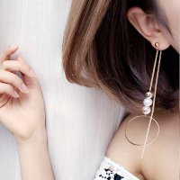 ANTING 02CEBCr Pearl Temperament Long Chain Earrings Gold