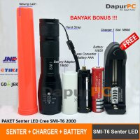 PAKET Senter E17 LED Cree SMI T6 2000 Lumens + Battery + Charger