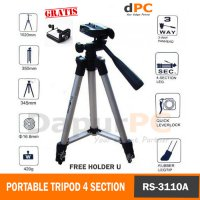 Portable Tripod Stand 4-Section With Brace - RS-3110A Gratis Holder U