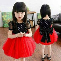 DRESS KID SHAN POLKA SPANDEK POLKA TANGAN BRUKAT MIX TILE