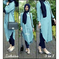 Hijab Zahara Denim Set 3in1