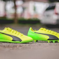 Sepatu Futsal dan Bola Puma Evospeed 17.5 IN & FG - Safety Yellow/Gree