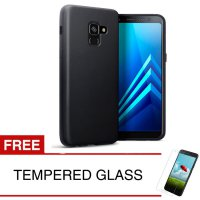 Case for Samsung A8 Plus / A8+ 2018 / A730 - 6.0 inch - Slim Soft Case - Hitam Solid + Gratis Tempered Glass