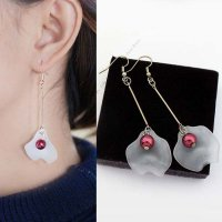 [ANTING] 02EA91r Leaves Asymmetrical Long Paragraph Pearl Earrings Gold-Maroon