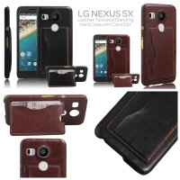 LG Nexus 5X Leather Textured Standing Hard Case Casing Cover with Card Slot