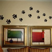 [globalbuy] Colorful Dog Cat Walking Paw Print Wall Stickers For Kids Rooms Decal Pet Room/3241953