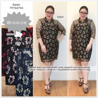 Karen Jumbo Dress Brokat Bigsize Terusan Big Size Dress Brukat 743