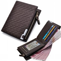 Men Wallet leather with Coin Pocket Zipper Plaid Purse Coin Purse Mone SJ0067