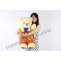 BONEKA TEDDY BEAR XL 75CM MODEL JOJON CREAM-ORANGE