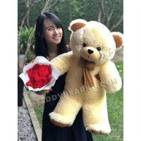 PAKET KADO BONEKA TEDDY BEAR CREAM MODEL IMPORT 75CM DAN BUNGA